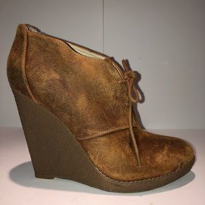 Enzo Angiolini Distressed Suede Wedge Booties